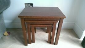 Nest of 3 Stacking Tables in Solid Dark Wood