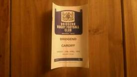 Bridgend RFC v Cardiff RFC Rugby Programme 1975