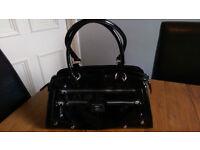 Patent look handbag, made by Fiorelli