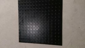 black vinyl floor tiles 50x50 new Studded Dot Penny Pattern approx 56+ square meters