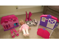 8 items for young girls from 3 yrs. Four play toys and 3 clothing items, 1 red ladybird suitcase.