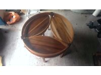 vintage coffee table nested tables teak/glass Nathan