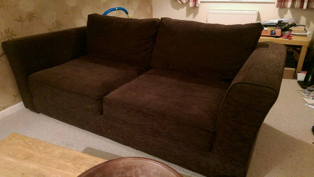 2 and 3 seater brown sofas