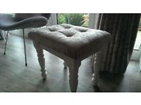 Dressing table stool with white base and Champaign velvet with diamante buttons .