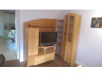 Entertainment Unit in OAK by Gavin Robertson - media centre unit with display cupboard and shelving