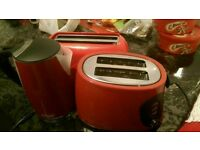 Red kettle and two toaster set of 3