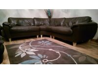 Brown Faux Leather 3 Piece Corner Sofa - Ideal For First Time Home Owner