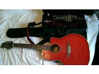 Trumpet and guitar set and case