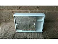 White bathroom cabinet with mirrored doors