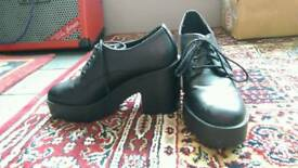 H&M Divided Black Platform Lace Up Heels Worn Once New Condition