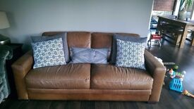 Ex Archibalds Tan Leather 3 seater sofa *quick sale required*