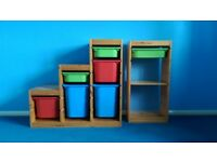 3 triple & 2 single frame storage units with boxes in a range of sizes. Good clean condition.