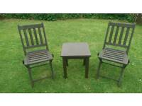Small wood garden table and 2 chairs
