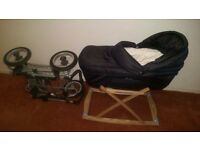Silver Cross Sleepover pram and moses basket combo