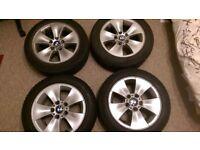"""GENUINE E90 E91 E92 E93 BMW 16"""" ALLOY WHEELS & TYRES - 7JX16- 205 55 R16"""