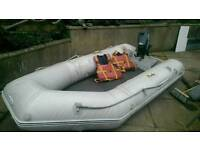 Inflatable dinghy boat with 5 hp Yamaha outboard engine