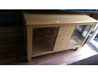 Beech sideboard with glass doors, excellent condition.