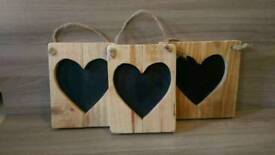 Handmade wood heart chalkboards
