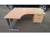 Ergonomic Office Table, Desk, Light Oak Melamine Single Pedestal Curved Work Station