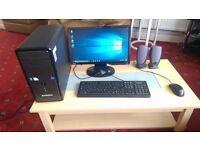 """Windows 10 (Upgraded from 7) ZoostormDesktop PC, 18.5"""" Screen & Computer Chair"""