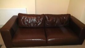 Brown leather sofa for sale!