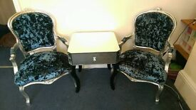 crushed velvet French Louis Chairs & Mirrored Table