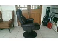 Leatherette reclining armchair