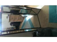 Full length triple mirror. Black wood