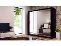 UNIQUE DESIGN!! BERLIN Sliding Door German Wardrobe in White/Black/oak Colors