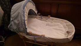 Brand new baby boys blue and white Moses basket