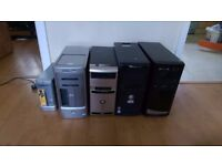 5 PC Towers & 4 Monitors