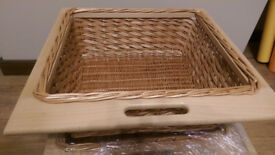 New 2 Wicker Basket Drawers with Oak Frames and Runners - for 600mm Width Cabinets