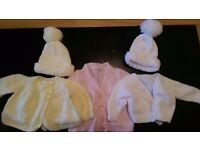 newborn baby girl hand knitted cardigans & hats