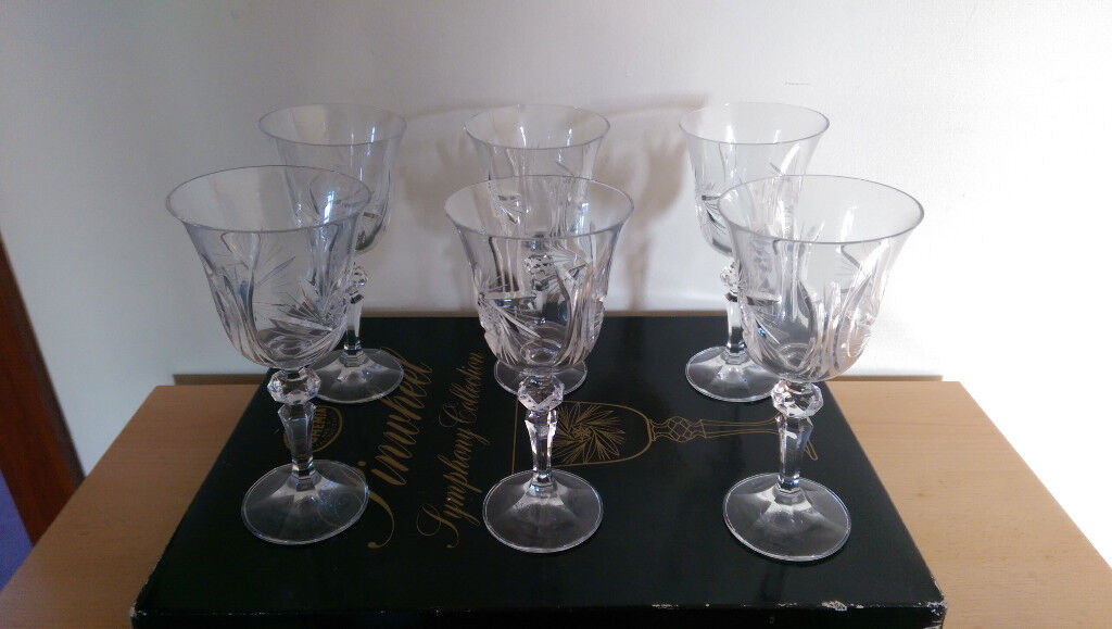 6 X Bohemia Pinwheel Symphony Collection Lead Crystal Wine Gles