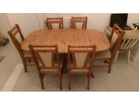 Extendable Pine Dining Table & 6 Chairs