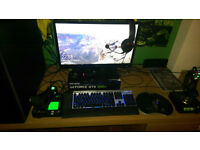 COMPLETE 4.4Ghz i7/980ti gamers setup INCLUDING GAMING MONITOR/KEYBOARD/MOUSE/HEADSET/HOTAS JOYSTICK