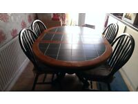 Tiled Top Extendable Table with 4 Chairs