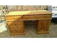 Substantial solid pine handmade large desk