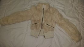 Vintage real rabbit fur & leather cream ivory size 6 jacket coat