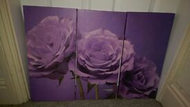 Purple flower 3piece canvas