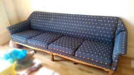 Mid century Danish sofa and matching armchairs