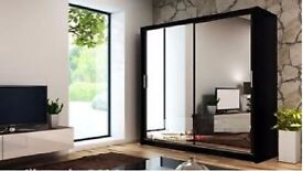 SAME DAY DELIVERY BRAND NEW- 2 Door Chico Sliding Door German Wardrobe in 4 Colours and Sizes
