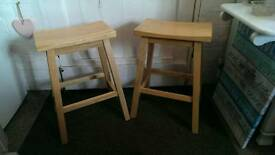 Pair of solid beech stalls