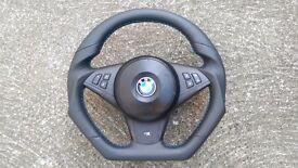 BMW M5 M6 E60 E61 E63 E64 NEW CUSTOM MADE FLAT BOTTOM STEERING WHEEL