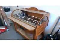 Buffet Stand in Walnut Wood with bain marie and full set of gastronom trays