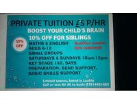 Tuition, 10% discount-- £5 P/HR, private tutor