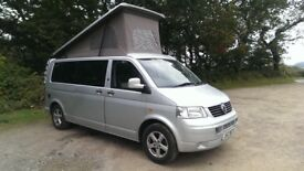 4-Berth 2005 Volkswagen VW T5 1.9 Diesel, Manual, Silver, LWB Pop-Top Camper Van Campervan