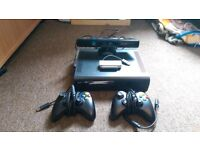 xbox 360 elite 120gb with 2 pad, kinect , and 7 games