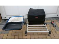 FOX MATCH SEAT BOX AND BAIT TRAY AND FOOT REST