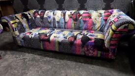 6 Month OLD Chesterfield Velvet Patchwork Large 3 Seater Sofa & Chair Suite - UK Delivery